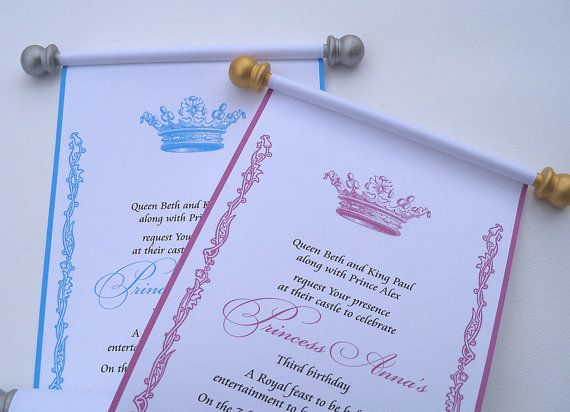 Princess Wedding Invitations Royal Crown Invitation Scrolls Crown