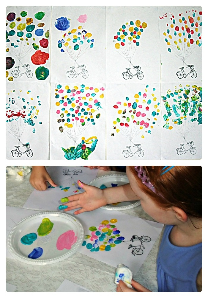 Kids Fingerprint Balloon & Bicycle Art