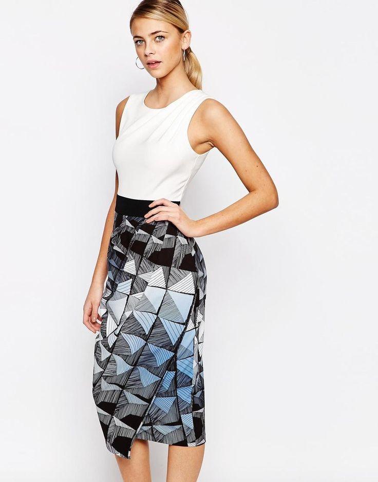 Closet | Closet 2 in 1 Pencil Dress in Color Block at ASOS