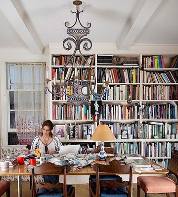 Dining Room & Library of Carolina Irving. I LOVE the idea of being surrounded by books!  CAROLINA IRVING | Mark D. Sikes: Chic People, Glamorous Places, Stylish Things