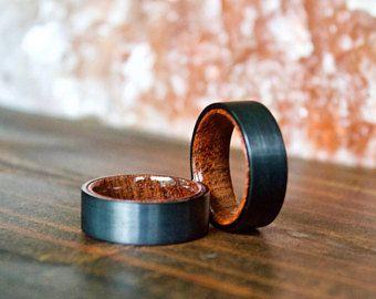 Anillo, anillo de carburo de tungsteno negro, anillos de madera, aro de madera, anillos de madera, anillo de bodas, anillos de madera para hombres, de madera, anillo de bodas de madera de madera