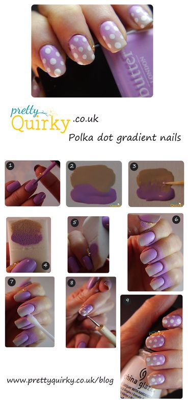 Polka dot gradient nail art tutorial