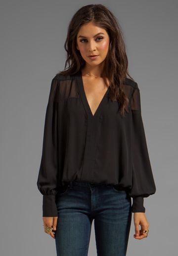 ELIZABETH AND JAMES Reese Blouse in Black - Tops