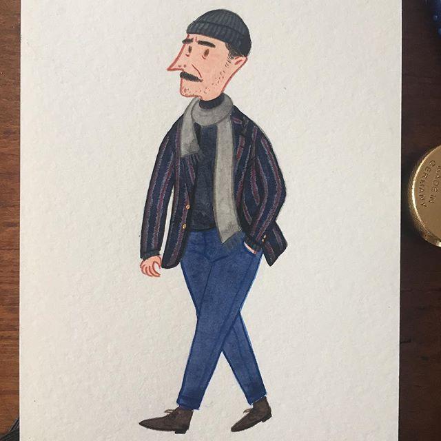 like his mustache! #pittiuomo #mensfashion #menswear #fashionillustration #streetstyle #streetfashion #stripedblazer