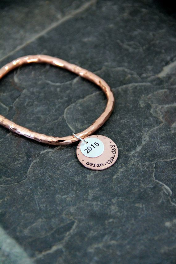 SALE Seize The Day Bracelet  Hammered Copper by whiteliliedesigns