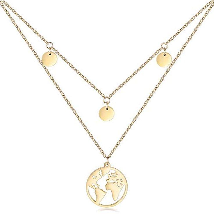 WISTIC Damen Halskette Plättchen Multilayer Weltkartenkette Zweireihige Kette m…