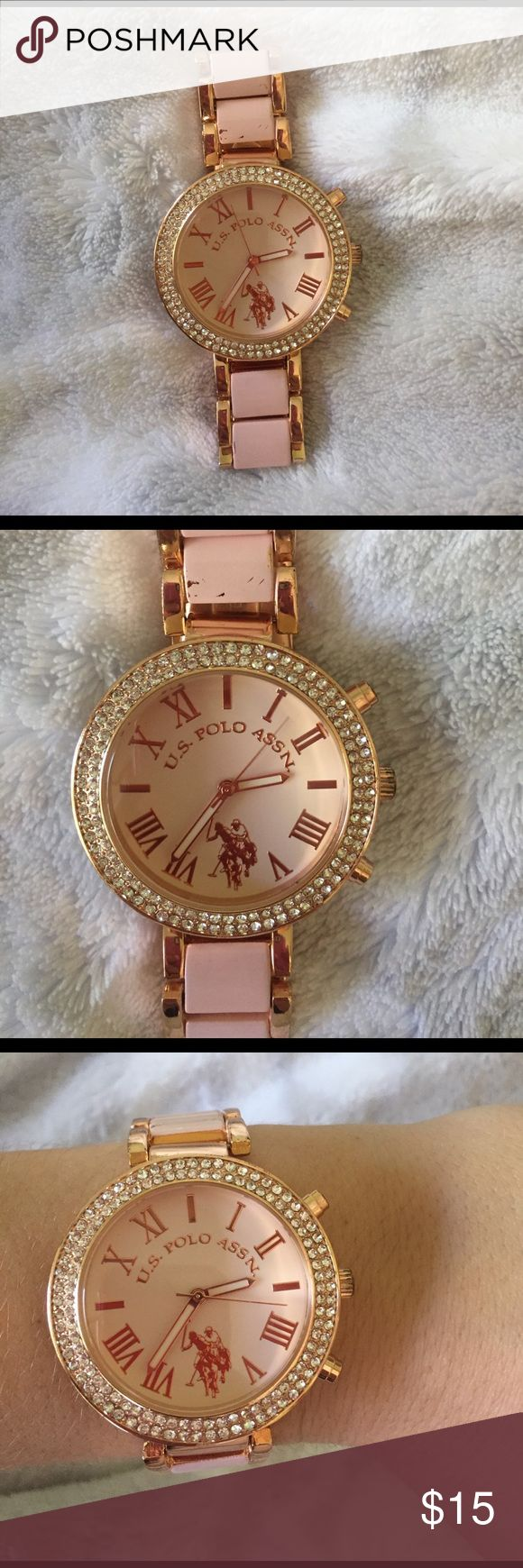 U.S. Polo Watch U.S. Polo Watch! Super cute! Perfect for any occasion. Rose gold and light purple/pink colored. Rhinestones around the face of the Watch and Roman numerals as the numbers. Worn a few times and there are some scratches if looked at closely. U.S. Polo Assn. Accessories Watches