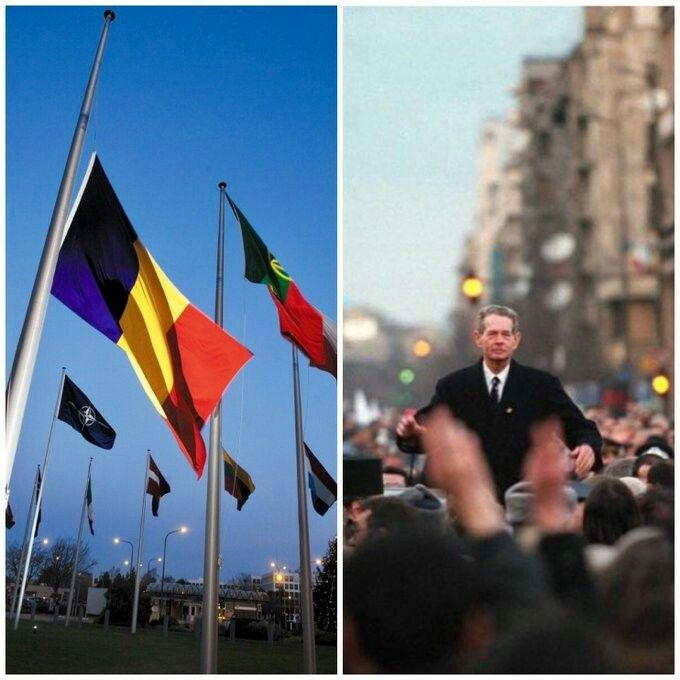 Oana Lungescu @NATOpress · Dec 14 #Romania's flag at half-mast at #NATO HQ in memory of #KingMichael I. With a strong moral compass in the turmoil of history, he stood up to tyranny & helped his country join #NATO & the #EU. Proud to have met #RegeleMihai.