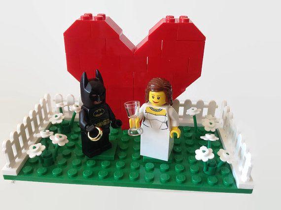 "Wedding Cake Birthday Cake Topper Lego Superhero You Choose Superman Batman Spiderman Captain America Wonderwoman Catwoman  *Customised"""