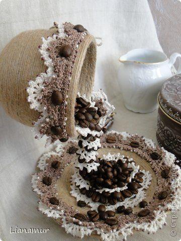 Artículos de decoración Artesanía producto ganchillo Cappuccino granos de la arcilla de café Pintura Twine Foto 7