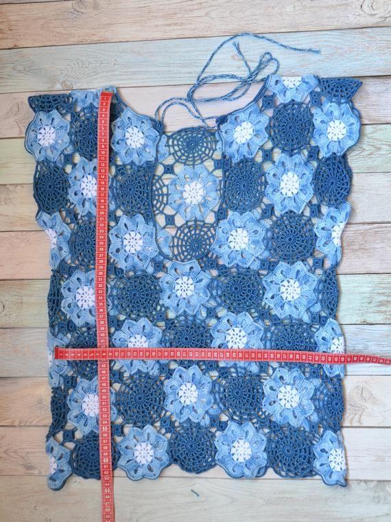 Crochet Lace Top mini Dress Beach Boho Tunic Summer Cotton Top | Etsy