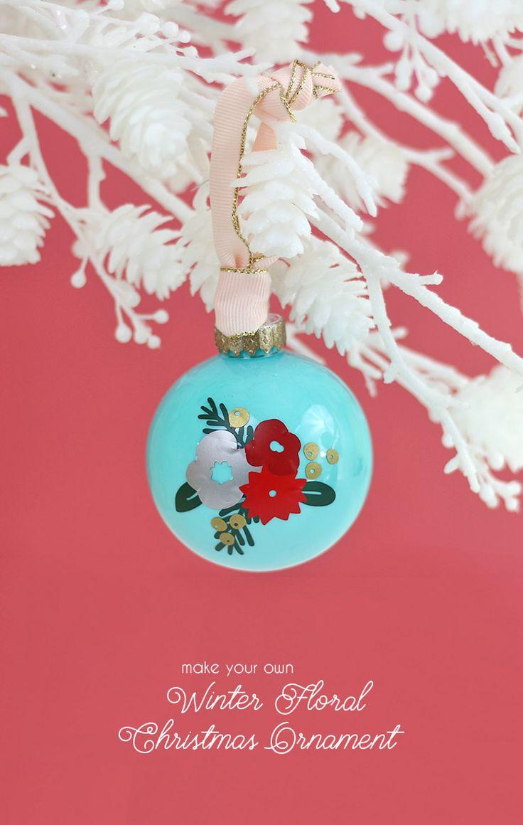 Hair stylist christmas ornaments - Diy Winter Floral Ornament With Vinyl