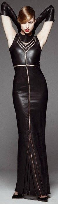This combo of luscious leather dress and sensuous leather gloves will be the hit of any gathering - I know my men will want to ravish me!!!!!