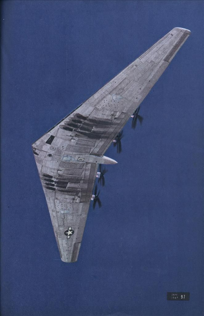 Northrop YB-35 flying wing strategic bomber.  Processor to the B-2 stealth bomber.