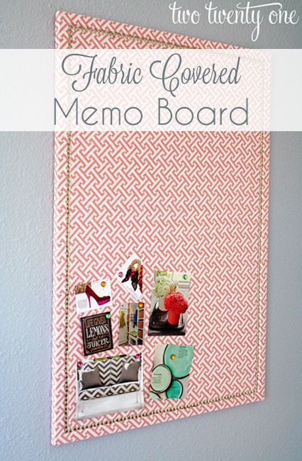 fabric covered, faux nailhead trimmed memo board tutorial