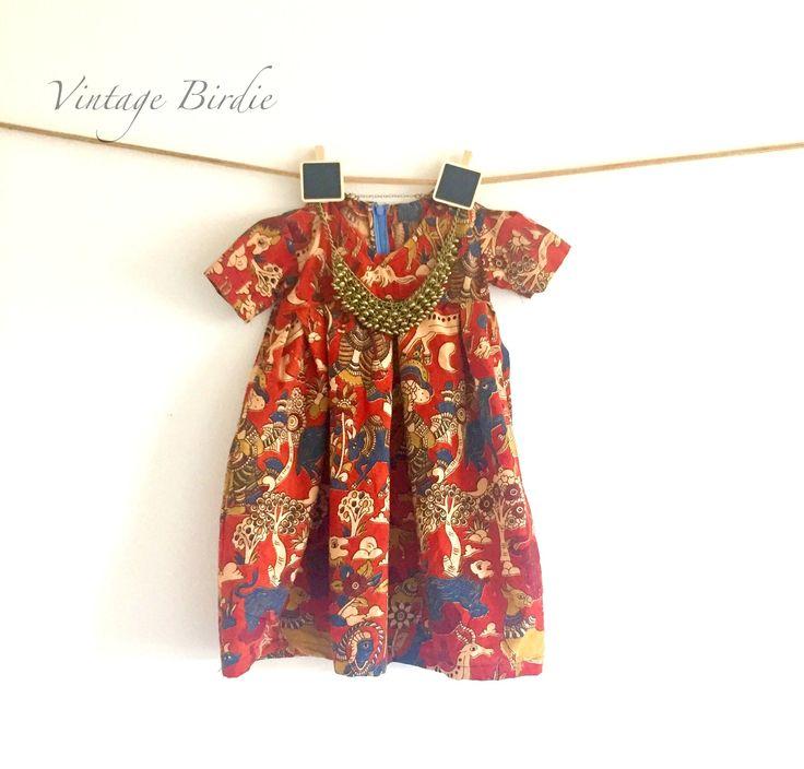 Kalamkari Baby First Birthday Dress  | Baby Girl First Birthday Dress | Baby Birthday Gift | Ethnic Baby Birthday Gift by LaVintageBirdie on Etsy
