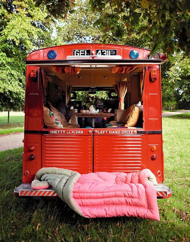 """In 1947, Pierre Franchiset designed the Citroën H van, now a household extension owned by a French couple. The British stylist Jane Field-Lewis, who owns a caravan of 70 says: """"It's where I'm most creative"""". 