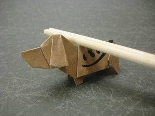 1:3.5の比率の箸袋で折るビーグル犬 創作/山田勝久 ビーグル犬の折り紙の折り方作り方 箸袋で創作Origami beagle dogs 【創作折り紙の折り方・・・】