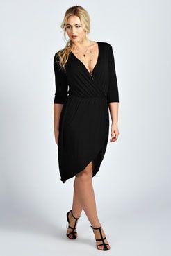 Katie Wrap Front Dress at boohoo.com