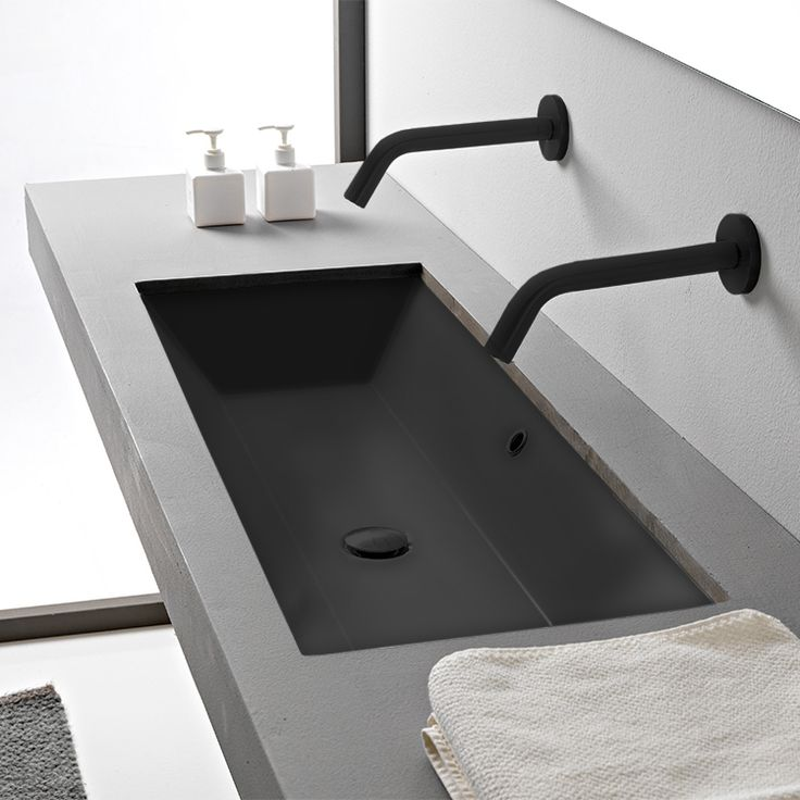 Rectangular Matte Black Ceramic Trough Undermount Sink in ...
