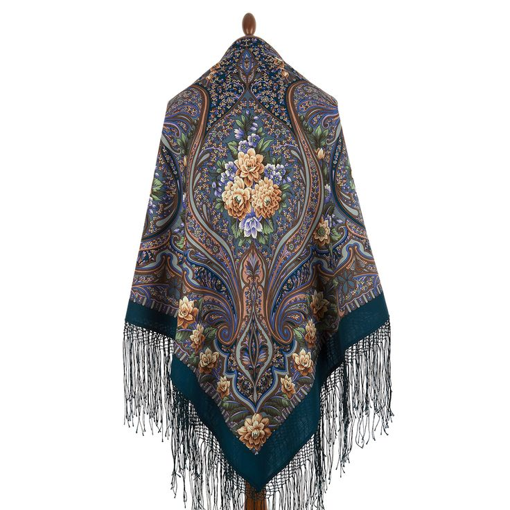 "Multicolor shawl of compacted woolen fabric with silk fringe ""Carnival"", 148 * 148sm       Artist: Valery Fadeev"