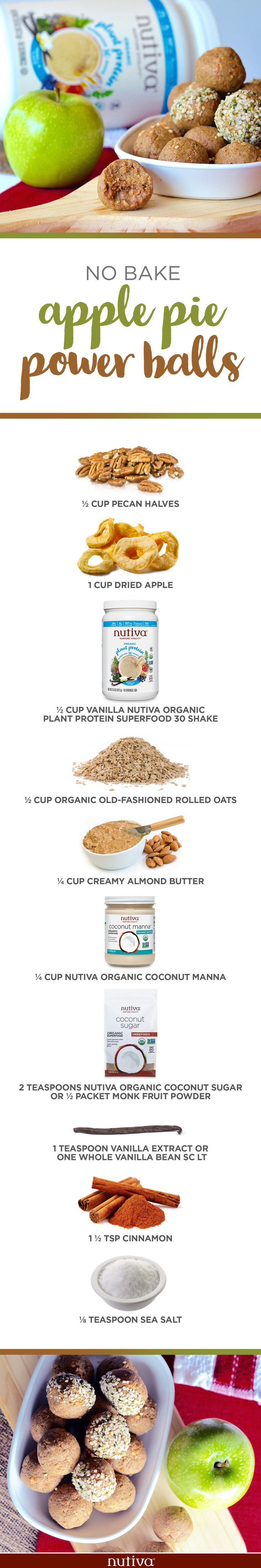 No Bake Apple Pie Power Balls kitchen.nutiva.com