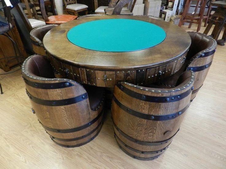 Perfect Wine Barrel Poker Table U0026 Chairs For Rivas