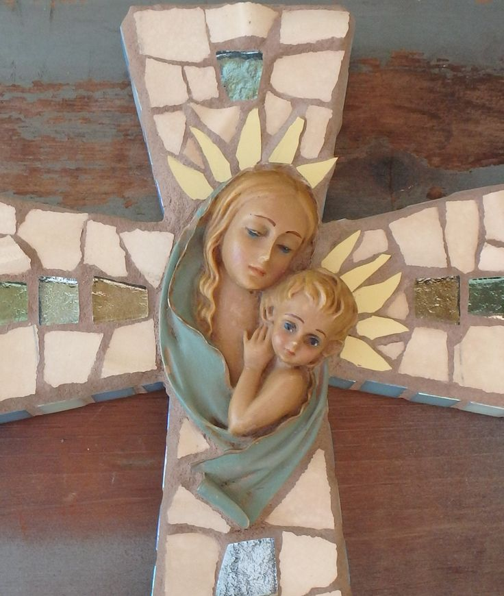 Mosaic Art Cross Blessed Mother Baby Jesus 3-D Madonna & Child