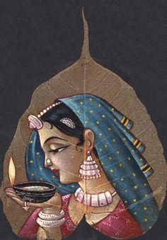 Lady with diya painting on peepal leaf
