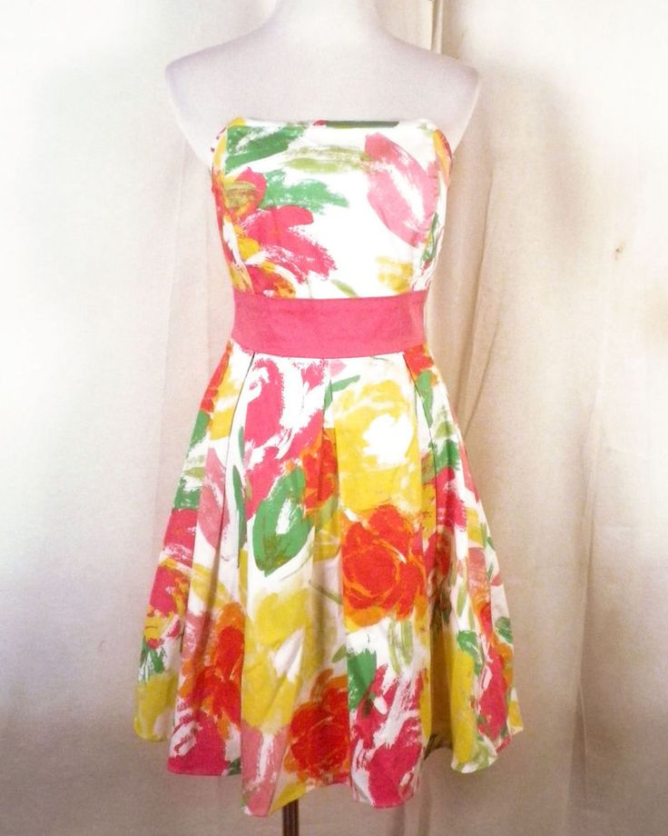 euc Alyn Paige colorful Abstract Floral Empire Waist Dress ribbon tie 7/8 #AlynPaige