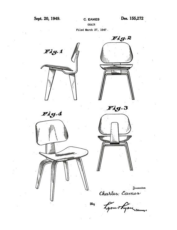 Patent application rendering - Charles and Ray Eames molded plywood chair
