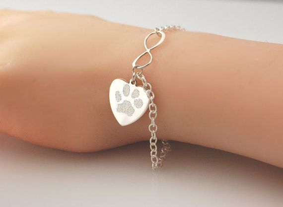 Actual paw print in .925 sterling silver - dog or cat memorial personalized Infinity & heart charm bracelet or necklace Pet memorial jewelry