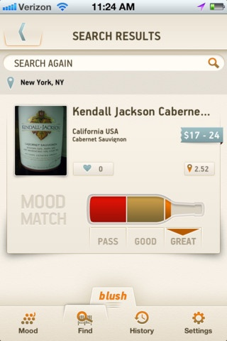 Blush for Wine, iPhone app    interesting interface