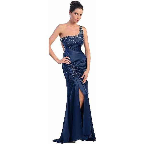 One Shoulder Navy Blue Rhinestone Full Length Gown (£26) ❤ liked on Polyvore featuring dresses, gowns, formal cocktail, navy blue, navy blue evening gown, floor length evening gowns, beaded evening dresses, blue evening dresses and navy blue evening dress