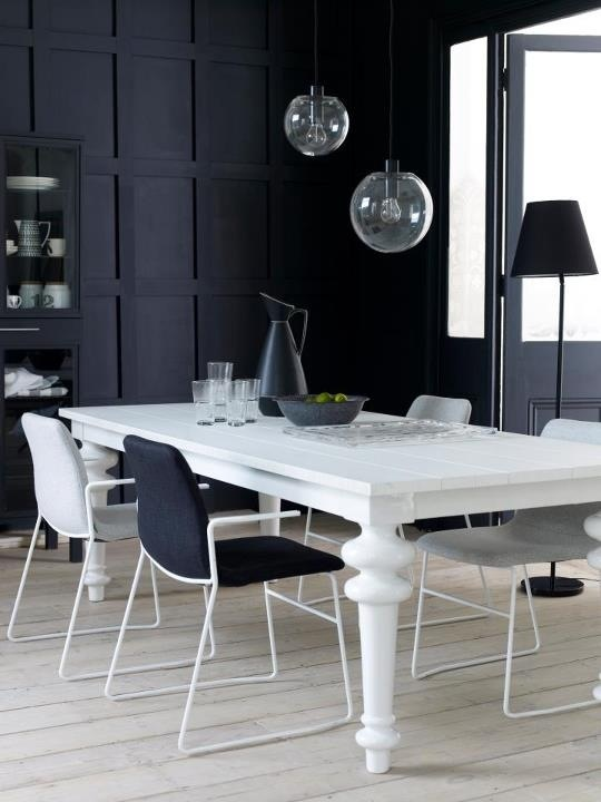 Modern Black And White Dining Room_table EDC_chairs Naughtone_lamps  Aram_Living Etc