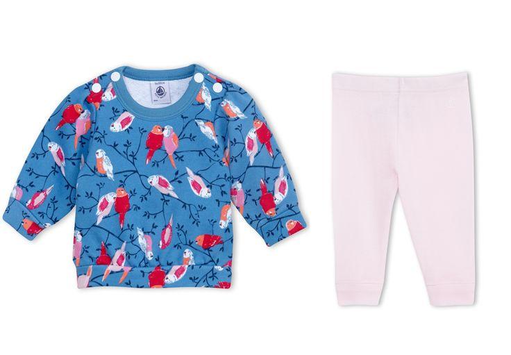 Tenue Petit Bateau pour petite fille : sweat en molleton motifs oiseaux et legging rose clair #mode #bebe #fille #naissance #mixte #hiver #ete