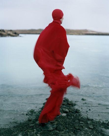 Tilda Swinton red silhouette . Iceland by Tim Walker Photography