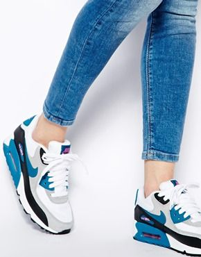 Image 4 ofNike Air Max 90 Essential Grey/Blue Trainers