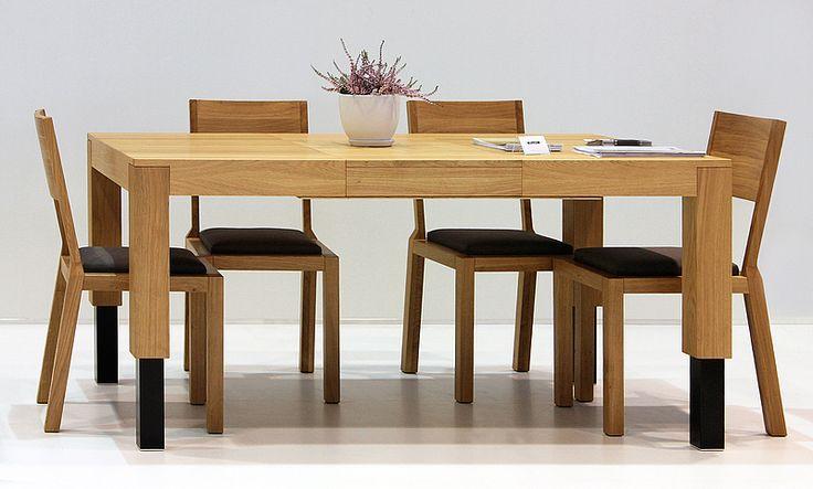 Electric lift table ROBO as a dining table. Colour: Natural. Size: 120 + 2x50x100x55-95cm. - www.miloni.pl/en MILONI: wooden table, oak table, natural wood table, table design, furniture design, modern table