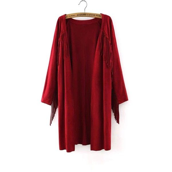 Yoins Red Suede Duster Coat ($35) ❤ liked on Polyvore featuring outerwear, coats, burgundy, coats & jackets, boho coat, burgundy coat, suede fringe coat, suede coat and red duster coat