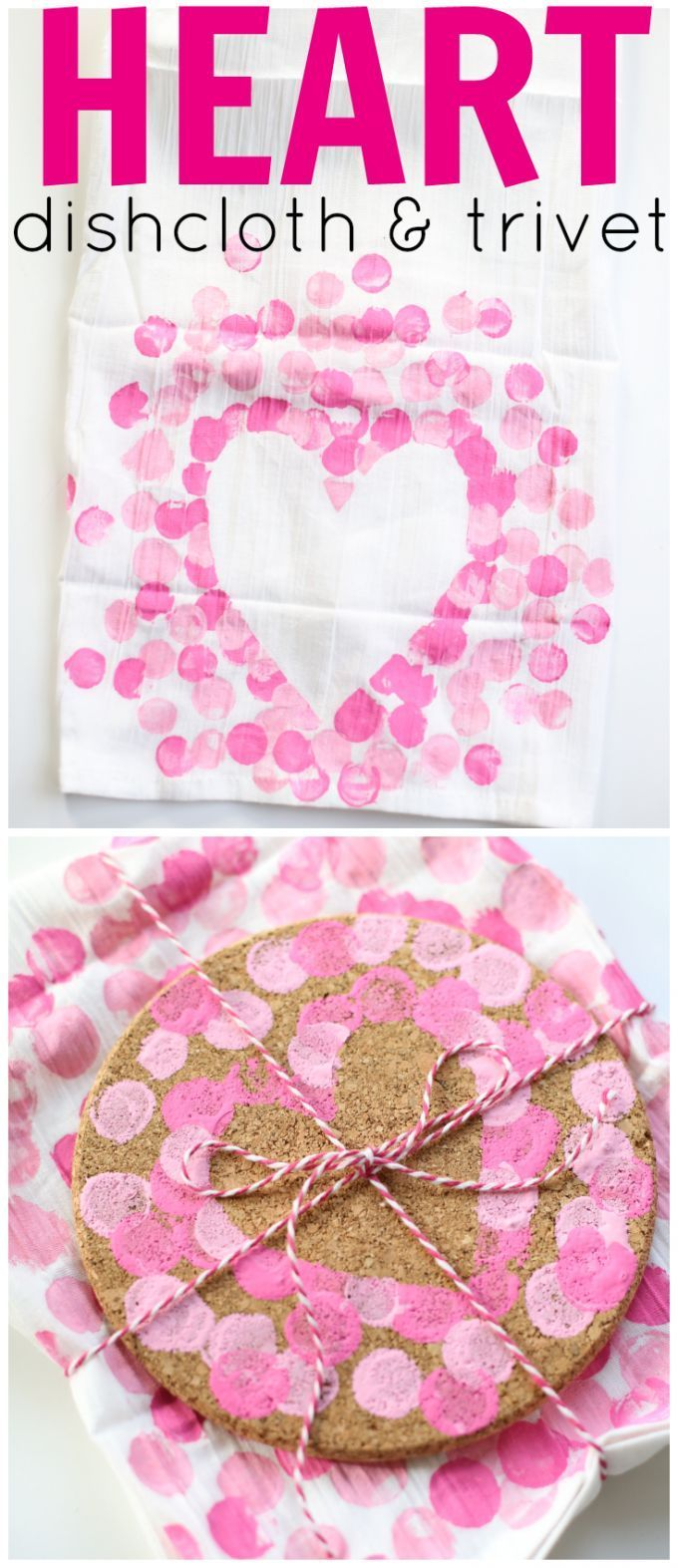 Heart Dishcloth and Matching Trivet:  Such a sweet and simple gift idea that kids can make!