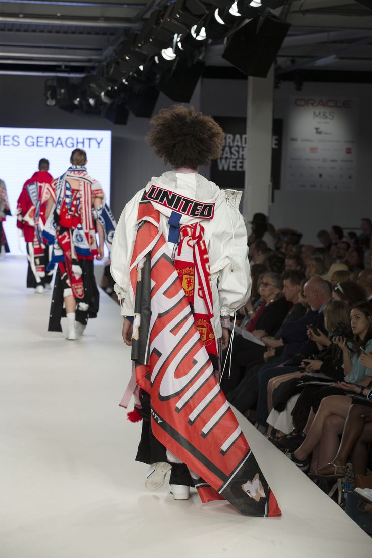 Kingston University student James Geraghty's collection on the catwalk at Graduate Fashion Week 2016. Find out more about studying fashion at Kingston University : http://www.kingston.ac.uk/undergraduate-course/fashion/?utm_source=Pinterest&utm_medium=Social&utm_campaign=KUPinterest&utm_content=FashioncourseGFW2016
