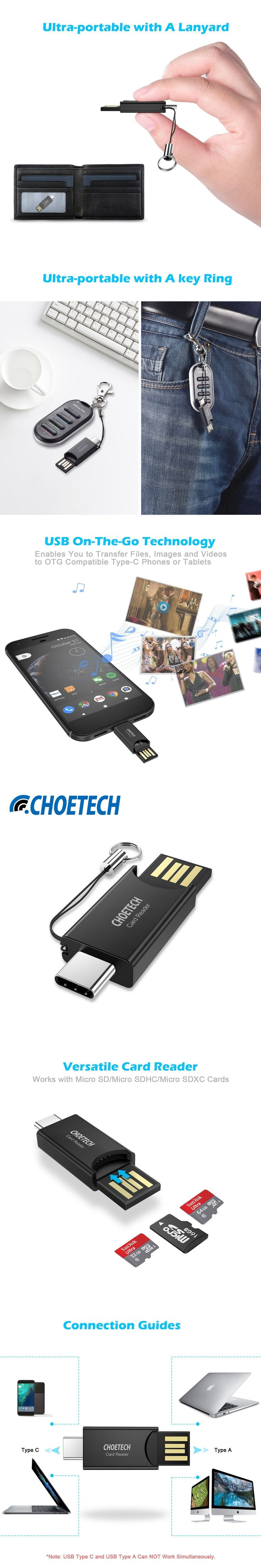 CHOETECH USB C Micro SD Card Reader Memory Card Reader with USB Type-C & Type-A OTG Adapter Connectors for MacBook Google Pixel