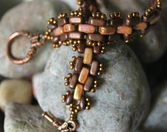 20% de descuento - venta de verano - diseño delicado de ladrillo Czechmate perlas y rocallas de Miyuki; Grano de tejer; Pulsera de bolas de ladrillo; Pulsera; Ver