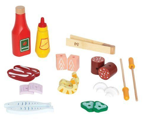 Hape Shish Kabob Basics Kid's Wooden Play Kitchen Food Set and Accessories