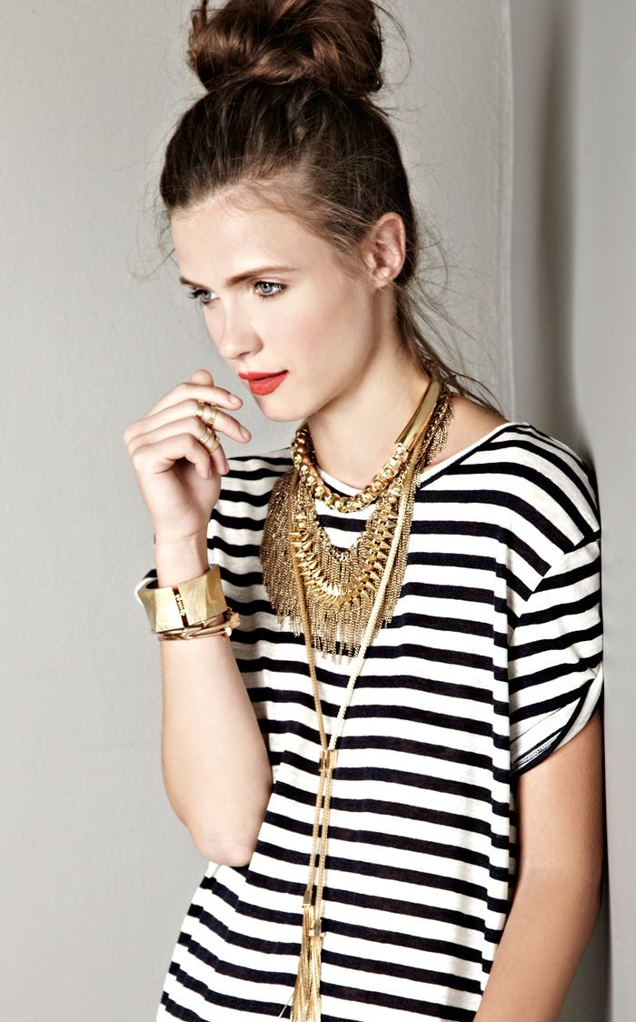 Stripes and gold chains