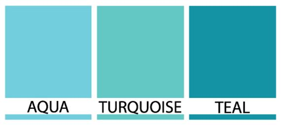 Differences between Turquoise, Teal and Aqua | Janet Carr @