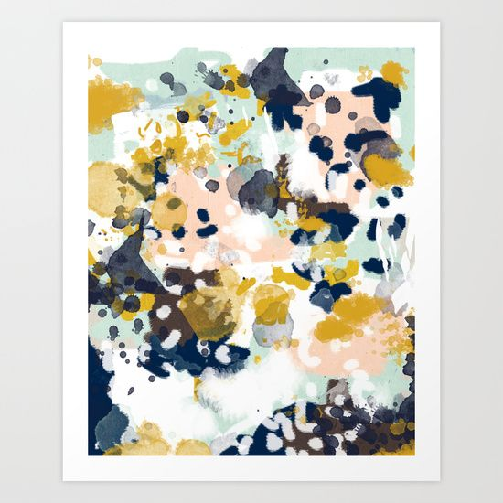 Sloane - Abstract painting in modern fresh colors navy, mint, blush, cream, white, and gold by CharlotteWinter http://society6.com/product/sloane-abstract-painting-in-modern-fresh-colors-navy-mint-blush-cream-white-and-gold_print?curator=ranchu