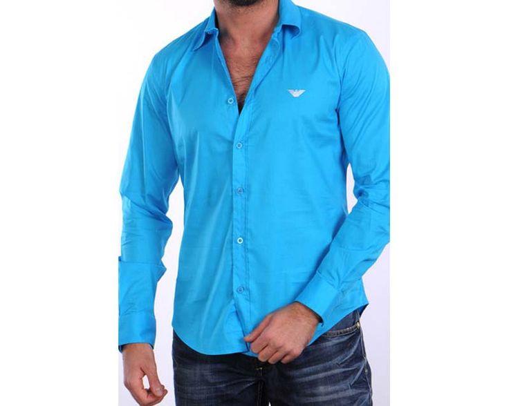 Emporio Armani Hombre | Camisas | OUTLETPREMIER | Camisa Turquesa Logo Blanco