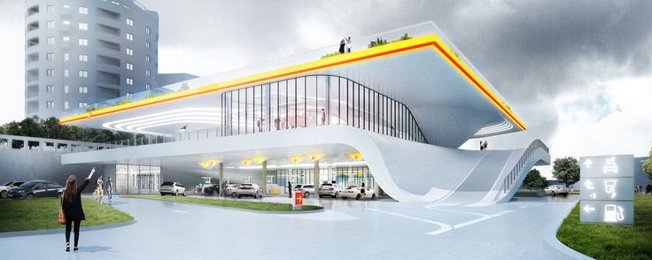 Filling Station of the Future in Warsaw, Poland, designed by the firm KAMJZ Architects. The structure of nearly every gas station around the world has remained unchanged since the 1980s. KAMJZ Architects believes it's time to catch up with the times and revolutionize where our cars recharge